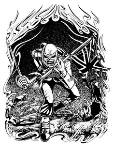 """originalgiantcontent: My homage to """"The Trooper"""" by Derek Riggs for Iron Maiden. Iron Maiden Mascot, Iron Maiden The Trooper, Heavy Metal Art, Heavy Metal Bands, Wizard Drawings, Iron Maiden Posters, Rock Y Metal, Free Adult Coloring, Dark Art Drawings"""