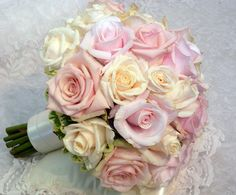 BB0112-Pale Pink and Ivory Rose Wedding Bouquet