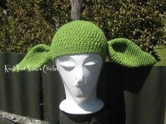Crochet-Yoda-Hat - for baby 2 month ...skip round 5 for hat.....for round 5 just increase twice ....so count is 50!