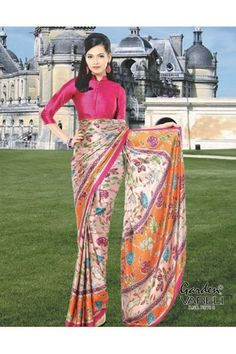 Buy Floral Candy #Peach #CrepeSaree with Peach ground and vibrant pink-orange border at Best Price i.e Rs.1,211/- @ #gardenvareli