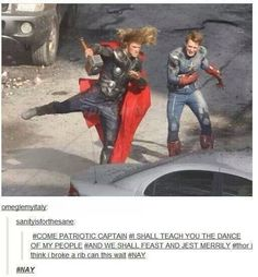 avengers Thor and captain America  I can't even