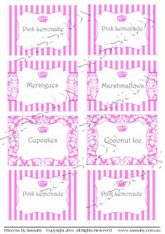printable party labels | Princess Party Labels | Sassaby