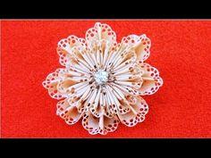 DIY Kanzashi flores en cintas de encajes - Kanzashi flowers of lace ribbons - YouTube