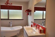 Created by Davies Homes Complete Bathrooms, Corner Bathtub, Bathroom Ideas, New Homes, Vanity, Design, Dressing Tables, Powder Room, Corner Tub