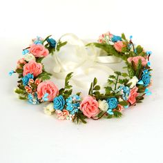 Turquoise and Coral Flower Crown, Rustic Floral Headband, Wedding Hair Piece, Bridesmaid Head Wreath, Hair Garland, Woodland Headpiece Halo