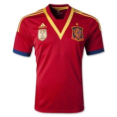 adidas Spain 2013 Official Home Soccer Jersey - model X53272 - Only $76.49