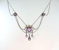 Edwardian Amethyst Pearl Festoon Necklace Heart by bohemiantrading
