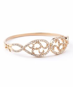 This Rose Gold Sterling Silver Micropavé Fancy Bangle by REL Jewelers is perfect! #zulilyfinds