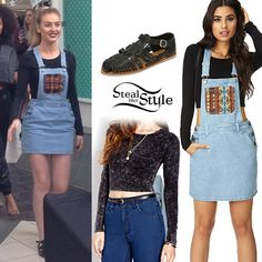 "Perrie Edwards signed copies of Little Mix's album ""Salute"" with her bandmates at Northpoint Mall in Alpharetta last week wearing a Forever 21 Mineral Wash Crop Top ($14.80), a Forever 21 Out West Overall Dress ($24.80) and a pair of Urban Outfitters Ecote Moni Buckled Huarache Sandals ($39.00)."