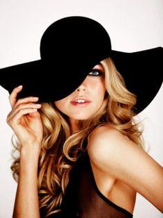 Black wide-brim hat
