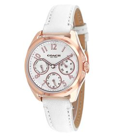 Love this Rose Gold & White Classic Chronograph Leather-Strap Watch by Coach on #zulily! #zulilyfinds
