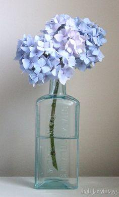 hydrangea in vintage blue glass bottle