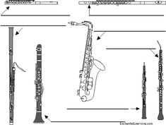 Label woodwinds in English