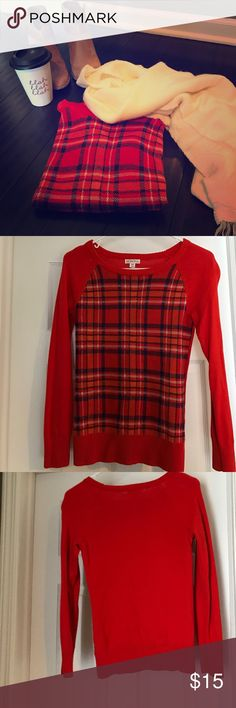 Merona red plaid sweater XS Perfect-for-fall red plaid sweater. Cozy up with a blanket scarf, booties, and your favorite flavored coffee. Never worn and in excellent condition. Fits true to size. The stripes are dark blue Sweaters Crew & Scoop Necks