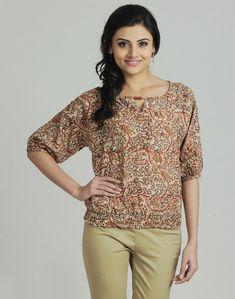 724bdbb91baf3d Fabindia.com   Cotton Mull Kalamkari Key Hole Neck Top Kalamkari Dresses,  Sari Fabric