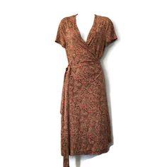 Vintage Diane Von Furstenberg Wrap Dress 90s DVF 100% #Silk Wrap Dress Brown  #dianevonfurstenberg #WrapDress