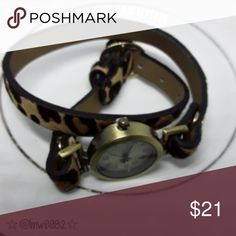 Leopard Animal Print Wrap Watch NWOT new battery Leopard print wrap watch wraps twice around the wrist. OSFM.  New battery (unactivated)  NWOT   Fall trend Gift present holiday holidays sparkle glam fashion stocking stuffer christmas hanukkah new years eve 2017 2018 xmas thanksgiving season watch time piece leopard animal print ocelot wrap watch Accessories Watches