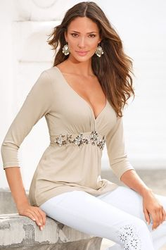 Boston Proper Embellished babydoll top #bostonproper