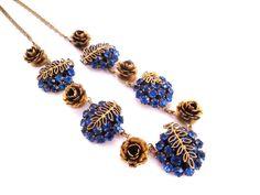 Sapphire Blue Rhinestone Necklace, Vintage Necklace, Cobalt Blue Glass, Gold Brass Necklace, Rose Jewelry, Flower Necklace, Vintage Jewelry by IfindUseekVintage on Etsy