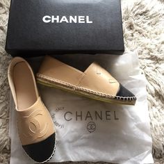 CHANEL Espadrilles NEW Beige/Black Leather  Sale Amazing!!! Highest end quality & appearance & material make to the Real Deal. These are a copy that is identical to the real chanel espadrilles. Compared too in store an no one knew they weren't real! This says size 40 it's not, it's a size 7-7.5 fitting perfect. Amazingly comfortable & perfect for all seasons! Designer Labeled inside an a must have Bc it's Sold Out Everywhere and $800! Comes with 2 garment show bags & box! Less ‼️ $149 via…