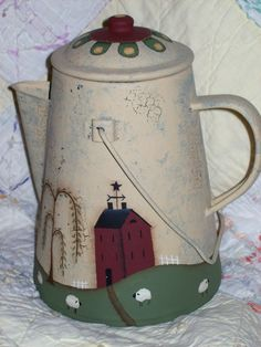 Old coffee pot, painted with a Marie Provost pattern