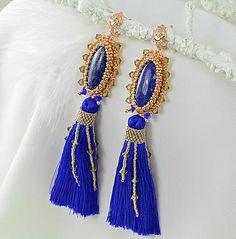 charoit / Náušnice Lapis lazuli, Swarovski, mosadz, kráľovská modrá