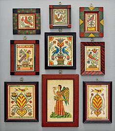 Collection of miniature watercolors on paper by David Ellinger an antiques dealer and artist who painted theorems and fraktur inspired by Pennsylvania German examples. Love this sort of grouping of small pieces of art Madhubani Art, Madhubani Painting, Art Decor, Decoration, Indian Folk Art, Indian Art Paintings, Primitive Folk Art, Arte Popular, Mural Painting