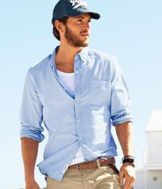 Easy - white tee, pale blue/chambray and camel chinos.