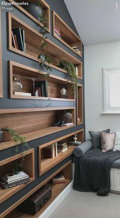 Storage shelves office built ins 47 Trendy Ideas – Home Office Design Diy Diy Bookshelf Wall, Living Room Shelves, Bookshelves Built In, Wood Shelves, Creative Bookshelves, Diy Bookcases, Wall Shelving, Bookshelf Styling, Shelving Ideas