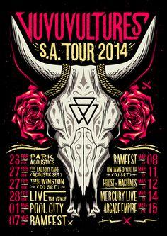 Vuvuvultures S.A. Tour 2014 by Ian Jepson, via Behance