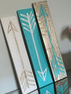 Vintage Arrows Set of 3 // Gold Aqua White by BlueTimberSignCo