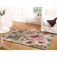 Vintage floral rug with a super soft pile. Part of our traditional rug range http://www.therughouse.co.uk/traditional-rugs/light-blue-pink-shabby-chic-vintage-floral-rug-bronte.html