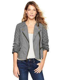 quilted biker jacket // GAP