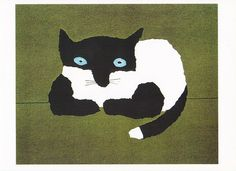 """Content Kitty Book Illustration Postcard From the book """"Cats as Cats Can"""" (Roberts Rinehart, 1997) Copyright Diogenes Verlag Illustration by Tomi Ungerer (b. Alsace, 1931)"""