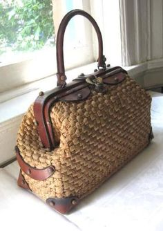 1969 John Romain Woven Straw Leather Doctor Bag Style Purse