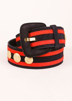 Navy, Red, and Gold Escada Suede Striped Button Studded Wide Belt
