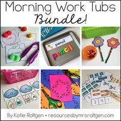 Morning Work Tubs for Kindergarten Bundle - Let your kinder students work through these 20 activities for EACH month of the school year. You get materials that need very little planning or prep. Grab a few classroom supplies - such as math manipulatives and playdough - and you'll be on your way. Student instruction cards and all activities are included. Great to celebrate the each month all year long and have some fun. Click for more details! Great for the classroom OR homeschool.