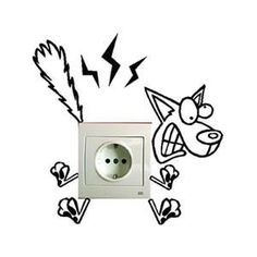 Electricuted funny dog light switch decal home decor