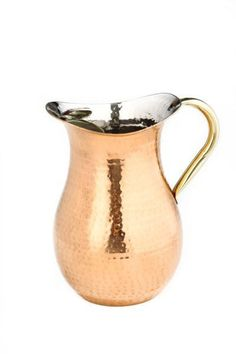 1.5 Qt. decor Copper Hammered Water Pitcher Brass Ice Guard & Handle
