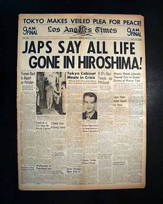 Historic ATOMIC BOMB Drops on HIROSHIMA JAPAN 1945 World War II WWII Newspaper