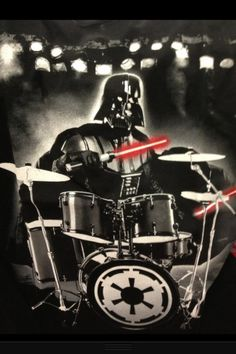 Drums and Vader! A nerd girl's dream!!