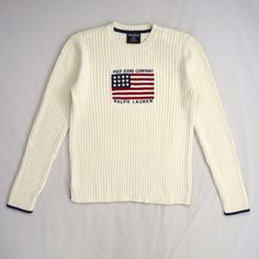 White Cotton Ribbed Thermal Knit POLO JEANS RALPH LAUREN American Flag  Sweater L
