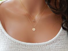 Layered Initial and Birthstone Necklace, Girlfriend Gift, Hand Stamped Initial Disc, Set of 2 Gold Necklaces, Personalized [CUD9]