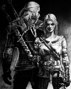 Geralt and Ciri by marcinyak on @DeviantArt