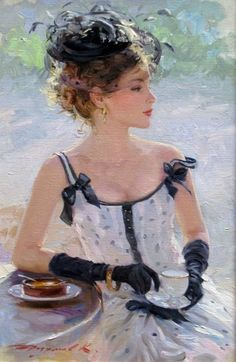 "beautiful artist   ""Redhead Tea Time""  ~~  Russian Artist ~Konstantin Razumov~"