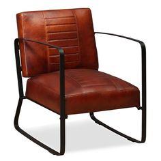 Deze coole, industriele loungestoel heeft een opvallend en stoer ontwerp. Hij is niet alleen een prachtige aanvulling op je woonkamer, maar de stoel is ook ideaal om lekker in te ontspannen na een drukke dag dankzij de comfortabele met schuim gevoerde echte geitenleren zitting en rugleuning. Het stevige stalen frame en de stalen poten dragen bij aan de industriele uitstraling. Montage is zeer eenvoudig.Kleur: bruinMateriaal: geitenleer en staalAfmetingen: 60 x 64 x 74 cm (B x D x H)Diepte…