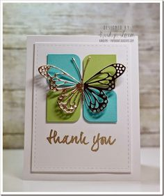 Avery Elle Many Thanks, Rounded Diamond dies, Gold embossed Thank You card with…