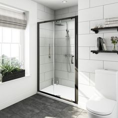 See our Mode premium black sliding shower door with left handed black tray 1200 x Plus benefit from our 365 day no quibble returns. Black Shower Tray, Black Tray, Framed Shower Door, Shower Doors, Luz Natural, Small Bathroom, Master Bathroom, Bathroom Ideas, Bathroom Showers