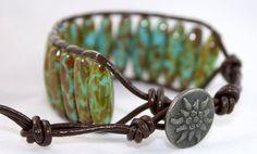 Beaded leather wrap bracelet  unisex jewelry  by mvtreasures, $35.00