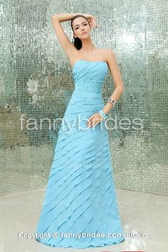 Enticing Chiffon Blue Strapless Tiered Ruched Evening Gown - Fannybrides.com Chiffon Evening Dresses, Chiffon Gown, Evening Gowns, Strapless Dress Formal, Formal Dresses, Discount Prom Dresses, Dress P, Beautiful, Empire